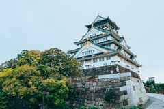 Osaka Castle in de herfstseizoen, één van het beroemdste oriëntatiepunt stock fotografie