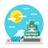 Osaka castle flat design landmark Stock Photography
