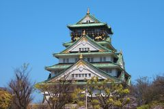 Osaka Castle. Osaka Castle Front Side - Many tourists are on the top level to see view around the castle. Osaka, Japan, March 2018 royalty free stock images