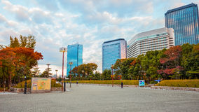 Osaka Castle garden in autumn stock photography