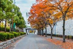 Osaka Castle garden in autumn. OSAKA, JAPAN - NOVEMBER 18: Osaka Castle Park in Osaka, Japan on November 18, 2013. Lies on the south of the Okawa river and Stock Photo