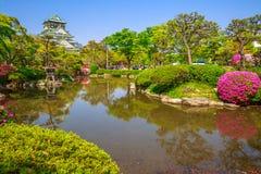Osaka Castle garden blooms Royalty Free Stock Photo