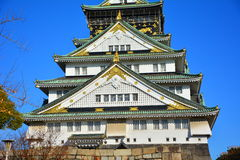 The Osaka Castle, The green castle with golden tiger emblems Stock Photo