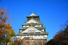 The Osaka Castle, The green castle with golden tiger emblems Royalty Free Stock Photo