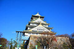 The Osaka Castle, The green castle with golden tiger emblems Royalty Free Stock Image