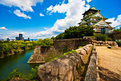 Osaka Castle, Japan. Osaka Castle with blue sky, white cloud and greens