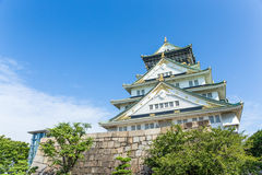 Osaka castle in Japan with blue sky Royalty Free Stock Photos