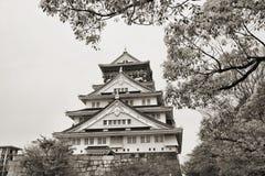 Osaka castle. Osaka, Japan - city in the region of Kansai. Osaka-jo castle in sepia tone Royalty Free Stock Image