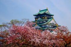 Osaka Castle, Japan. Mt. Fuji with red pagoda in Spring, Fujiyoshida, Japan Royalty Free Stock Images