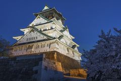 Osaka castle in Japan. At night Royalty Free Stock Images