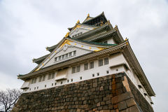 Osaka castle, Japan. Rainy overcast sky Stock Photos