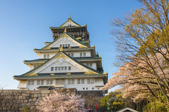 Osaka castle in Japan. Osaka castle with sakura flower in Japan Stock Photo