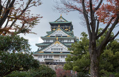 The Osaka castle in Japan. View of the Osaka castle in Japan Royalty Free Stock Images