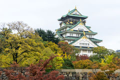Osaka Castle in Autumn, Famous Landmark in Japan. Osaka Castle is a Japanese castle in Osaka, Japan. The castle is one of Japan`s most famous landmarks and it royalty free stock images