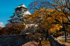 Osaka castle landmark in autumn stock image