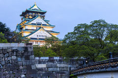 Osaka Castle at night in Japan Stock Photography