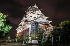 Osaka Castle at night, Osaka, Japan. stock images