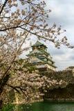 Osaka Castle och körsbärsröd blomning i våren, Osaka, Japan royaltyfri foto