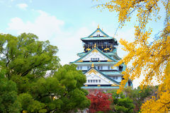 Osaka Castle in Osaka with autumn leaves. Japan. Royalty Free Stock Photos