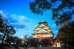 Osaka Castle in Osaka, Japan during a colorful pastel summer sun Royalty Free Stock Images
