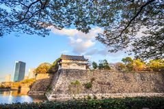Osaka Castle in Osaka, Japan during a colorful pastel summer sun Royalty Free Stock Photos