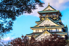 Osaka Castle in Osaka, Japan during a colorful pastel summer sun Royalty Free Stock Photography
