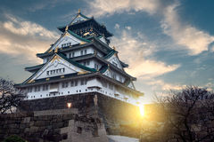Osaka Castle. The sun sets behind Osaka Castle in Osaka, Japan Royalty Free Stock Photo