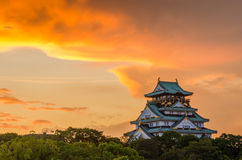 Osaka Castle Sunset Japan Royalty-vrije Stock Afbeelding