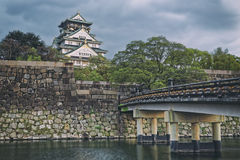 Osaka Castle at sunset in Japan Royalty Free Stock Photography