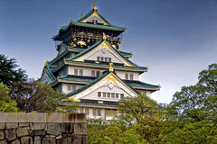 Osaka Castle at sunset in Japan Royalty Free Stock Images