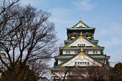 Osaka Castle. Surrounded by secondary citadels, gates, turrets, impressive stone walls and moats Royalty Free Stock Photos