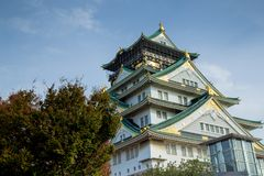 Osaka castle tower in japan, in Autumn stock photo