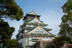 Osaka castle tower in japan, in Autumn stock images