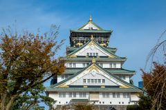 Osaka castle tower in japan, in Autumn stock image