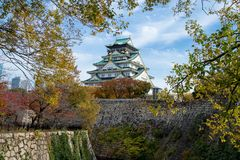 Osaka castle tower in japan, in Autumn royalty free stock image