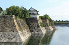 Osaka castle. Traditional Japanese feudal castle Stock Photos
