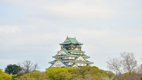Osaka castle and tree foreground in japan Stock Images