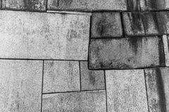 Osaka Castle vägg i svartvitt Arkivbilder