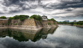 Osaka Castle walls and moat panorama Royalty Free Stock Photos