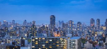Osaka city Building night scene Panorama cityscape Background. Osaka city Building night scene Panorama Japan cityscape Background Royalty Free Stock Photography