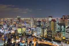 Osaka city downtown skyline at twilight. Japan Royalty Free Stock Photography