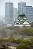 Osaka city with historical castle Royalty Free Stock Image