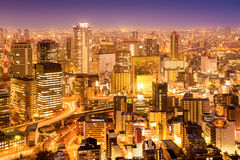 Osaka city at night Royalty Free Stock Photography