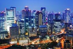 Osaka city at night Stock Image