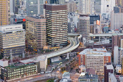 Osaka city office building downtown aerial view Stock Photos