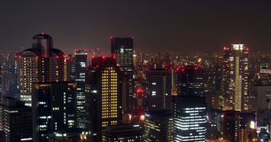 Osaka city skyline night Royalty Free Stock Image