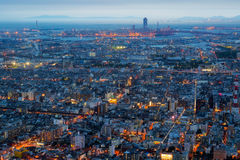 Osaka city and skyline. Osaka city view and skyline at dusk in Abeno and Shinsekai districts, Tennoji, Osaka prefecture,  Kansai region, Japan Stock Images