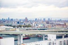 Osaka Cityscape fotografering för bildbyråer