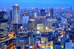 Osaka cityscape at night Stock Photography