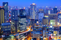 Osaka cityscape at night Royalty Free Stock Photo
